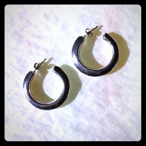 "Sterling Silver Hoop Pierced Earrings 1.25"""